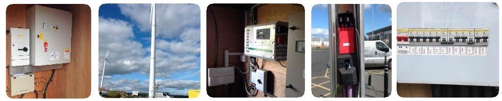 Controls panel, wind turbine, turbine controls, street light and consumer unit